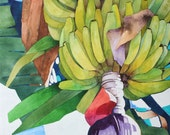 Hawaii.....Art Original Watercolor Painting of a Tropical BANANA TREE