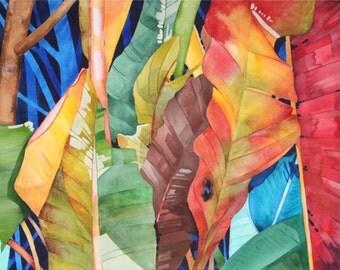 Hawaii........Dramatic Art Original Watercolor Painting of Colorful TROPICAL LEAVES