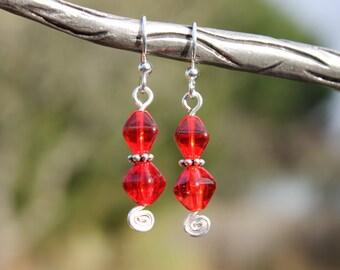 Red beaded earrings