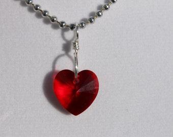 Red Swarovski crystal heart necklace