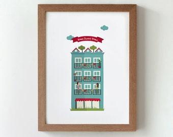 Illustration, print, Home sweet home, Tutticonfetti, Wall art, Art decor, Hanging wall, Printed art, Decor home, Gift idea, Sweet home.