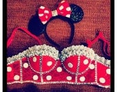 32 B Minnie Mouse Cropped Corset and Ears