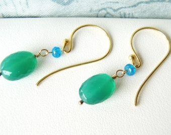 Green onyx earrings, apatite earrings, vermeil earrings OOAK