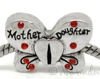 Mom Gift Idea - Mother Daughter Butterfly European Charm Bead With Ruby Red Rhinestones For European Charm Bracelets