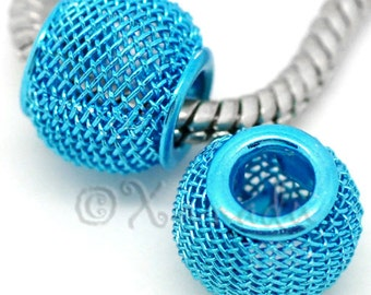 2PCs Turquoise Blue Metallic Mesh European Charm Beads For European Bracelet And Necklace Chains - Size 12x10x10mm