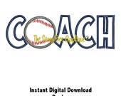 DD BASEBALL COACH Applique - Machine Embroidery Design - 2 Sizes - Instant Download