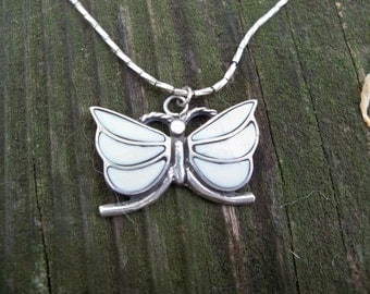 Vintage silver & fossilized bone butterfly necklace