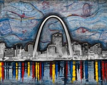 """St. Louis Arch  11"""" x 14""""  Art Print"""