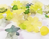 Lemon Lime Lucite Flower Bead Mix - 100 pieces