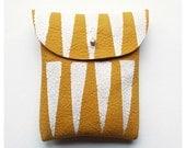 POUCH // mustard yellow white tribal pattern