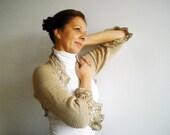 Hand knit crochet shrug bolero, 3/4 sleeved, 100 % cream cotton