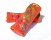 Felted Mittens / felted gloves/ Flower Mittens Fingerless Mittens Nuno felt orange gift - AnnaWegg