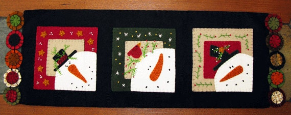 Wool Pattern Table runner #111 Runner Applique  table wool felt Snowman patterns Trio