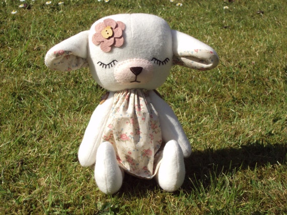 Sleeping Baby Lamb with vintage ditsy print dress. Can be personalised