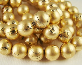 10mm Vintage Matte Gold Acrylic Drizzle Beads - 10
