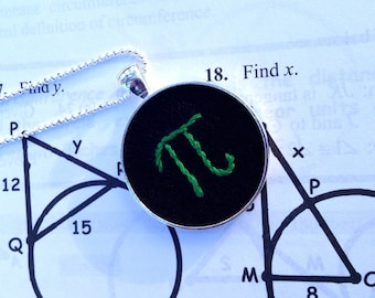 Pi Necklace, Graduation Gift, Math Necklace, Pi Day Jewelry, Embroidered Necklace, Mathematical Jewelry