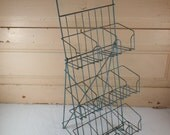 VIntage Metal Store Display Rack, Blue Painted Storage Rack, Industrial Storage Display Piece