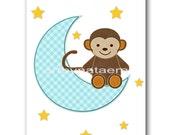 Print for Baby Room Baby Nursery Decor Childrens Art Kids Art Kids Wall Art Baby Boy Nursery Prints Boy Monkey Decoration Blue