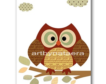 Baby Gift Wall Decor for Kids Art for Kids Room Kids Wall Art Baby Nursery Decor Baby Boy Nursery Room Decor Print Owl Decoration Red