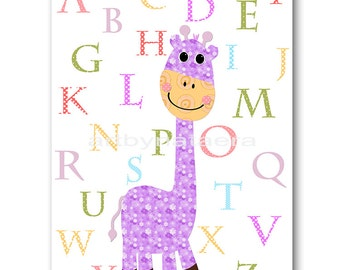 Baby Nursery Childrens Art Kids Art Kids Wall Art Baby Girl Nursery Baby Girl Room Decor Nursery print Print giraffe alphabet violet