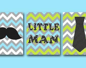 Little man Baby Boy Nursery Art Print Childrens Wall Art Baby Room Decor Kids Print set of 3 Little Man Blue Green Gray Baby Art Prints