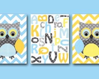 Canvas Owl Nursery Alphabet Blue Gray Yellow Owl Decor Alphabet Nursery Canvas Baby Nursery Art Nursery Wall Art Kids Room Decor set of 3 /