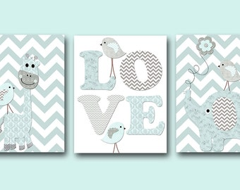 Giraffe Nursery Baby Boy Nursery Art Nursery Wall Art Baby Nursery Kids Room Decor Kids Art set of 3 Bird Elephant Nursery Gray Blue