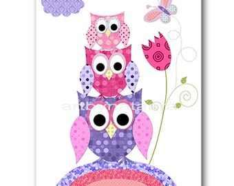 Owl Decor Owl Nursery Baby Girl Nursery Art Nursery wall art baby nursery decor kids room decor Kids Art Girl Print owl rose purple