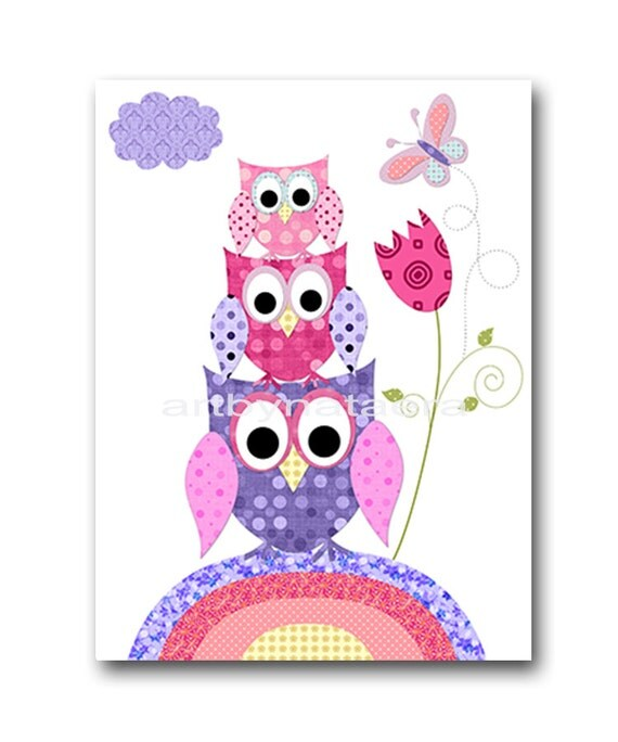 Owl decor owl nursery baby girl nursery art nursery wall art - Girl owl decor ...