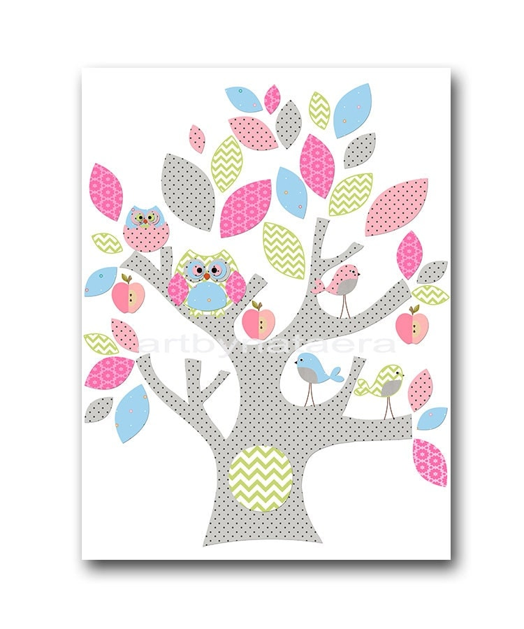Owl decor owl nursery tree baby girl nursery decor by artbynataera - Girl owl decor ...