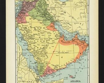 Vintage Map Saudi Arabia Iraq Syria Jordan Palestine Original 1938