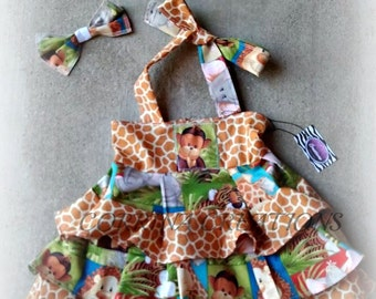 Safari,Baby Animal  OTT Pageant Wear Ruffle Dress size NB 3  6 9 12 24 months, size 2 3 4 5