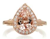 Rose Gold 10x7mm Pear Shape Morganite Diamond Encrusted Pave Halo Custom Engagement Anniversary Ring