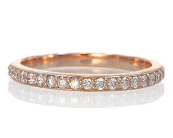 2mm White Gold Rose Gold or Yellow Gold Diamond Wedding Band Customizable