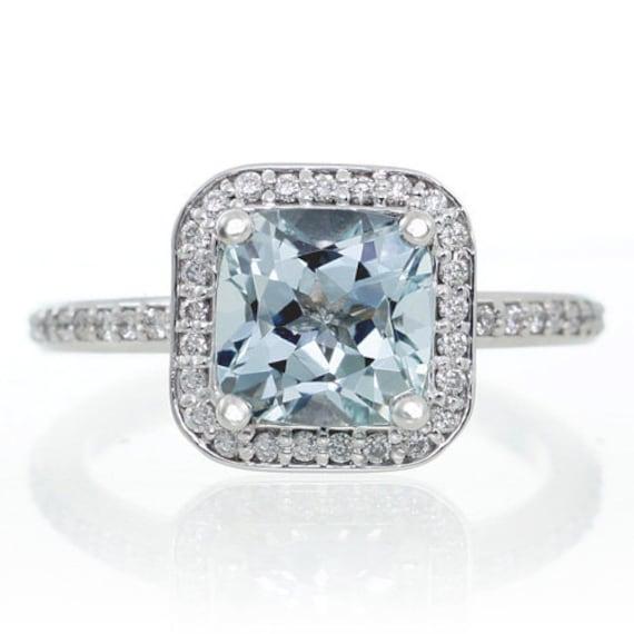 Bien-aimé 14K or blanc coussin coupe la bague de fiançailles diamant DR95