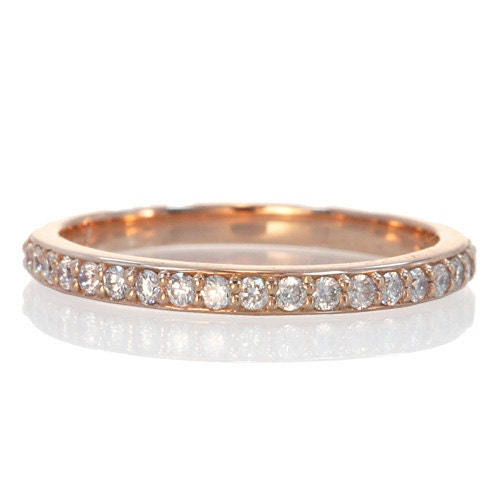 2mm White Gold Rose Gold Or Yellow Gold Diamond Wedding Band