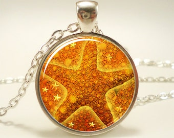 Starfish Necklace, Nautical Star Fish Jewelry, Yellow Glass Photo Pendant (1209S1IN)