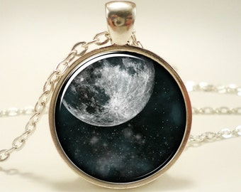 Full Moon Necklace, Cosmic Space Jewelry, Galaxy Pendant (1303S1IN)