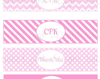Pink Water Bottle Labels