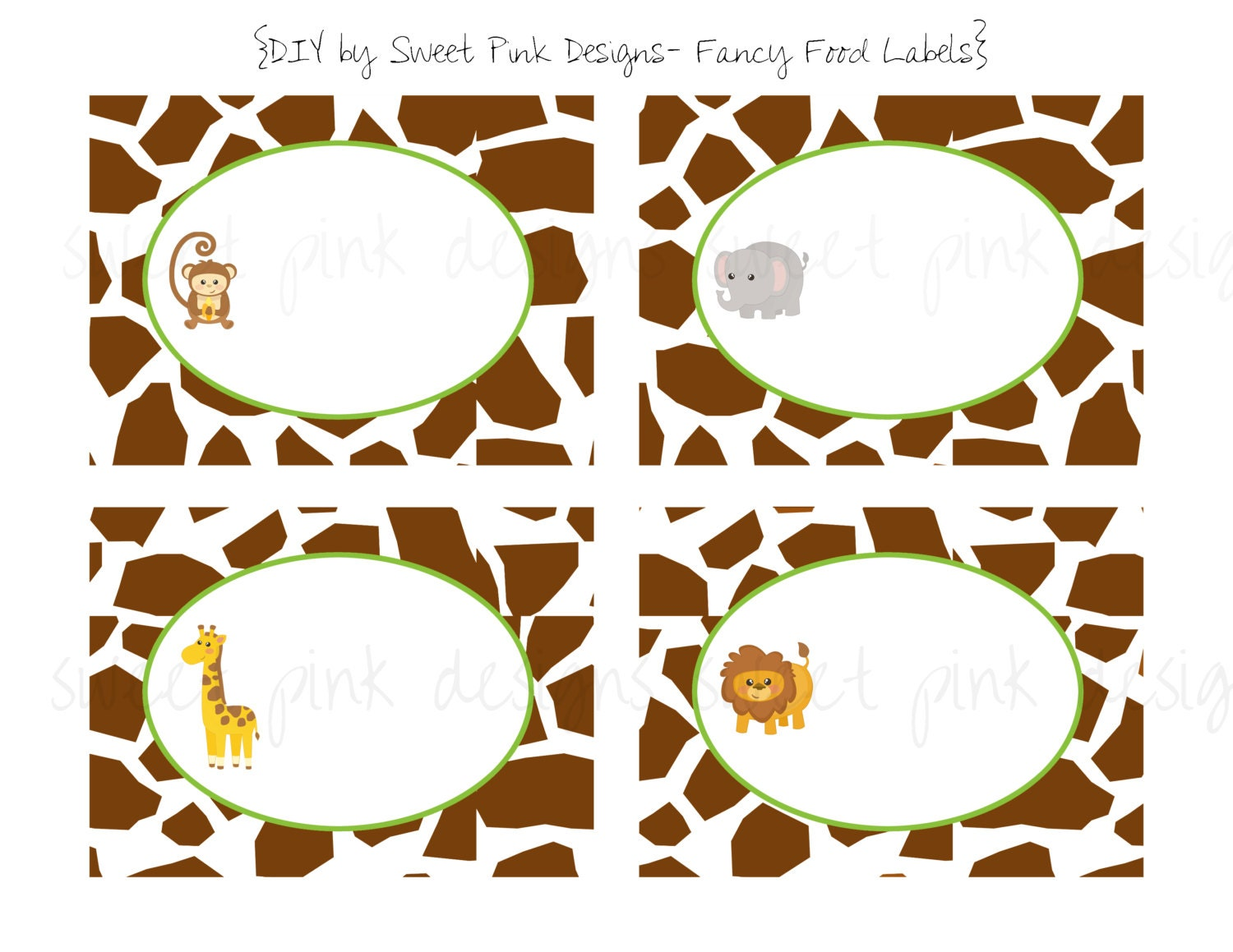 Jungle AnimalsFancy Food Labels by Sweetpinkdesigns on Etsy