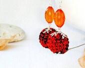 Orange Earrings  Dangly crochet Ball earrings Orange Black  Fall jewelry  Halloween