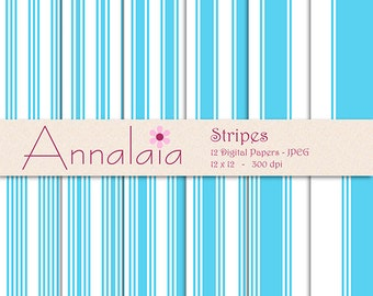 INSTANT DOWNLOAD Digital Paper Pack: Baby Blue and White Stripes Lines 12x12 8,5x11 Scrapbook Paper Baby Boy Paper Commercial Use 355