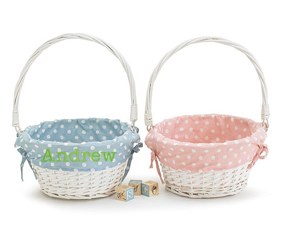 Personalized Easter Basket Blue And Pink Polka Dot Options
