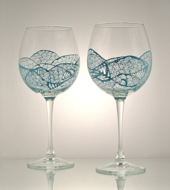 Set of 2 individually hand painted wine glasses aqua for Hand designed wine glasses