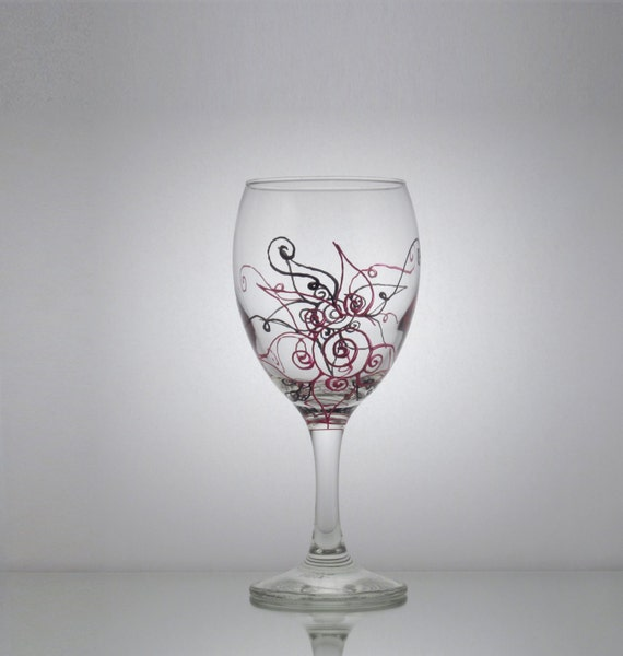 single hand painted wine glass w engine red by
