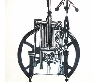 Minimalist- linogravure / linocut print