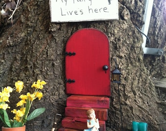 Fairy garden set, includes a red distressed, fairy door, a set of, stairs, and a sign, Gift, a friend or gift yourself