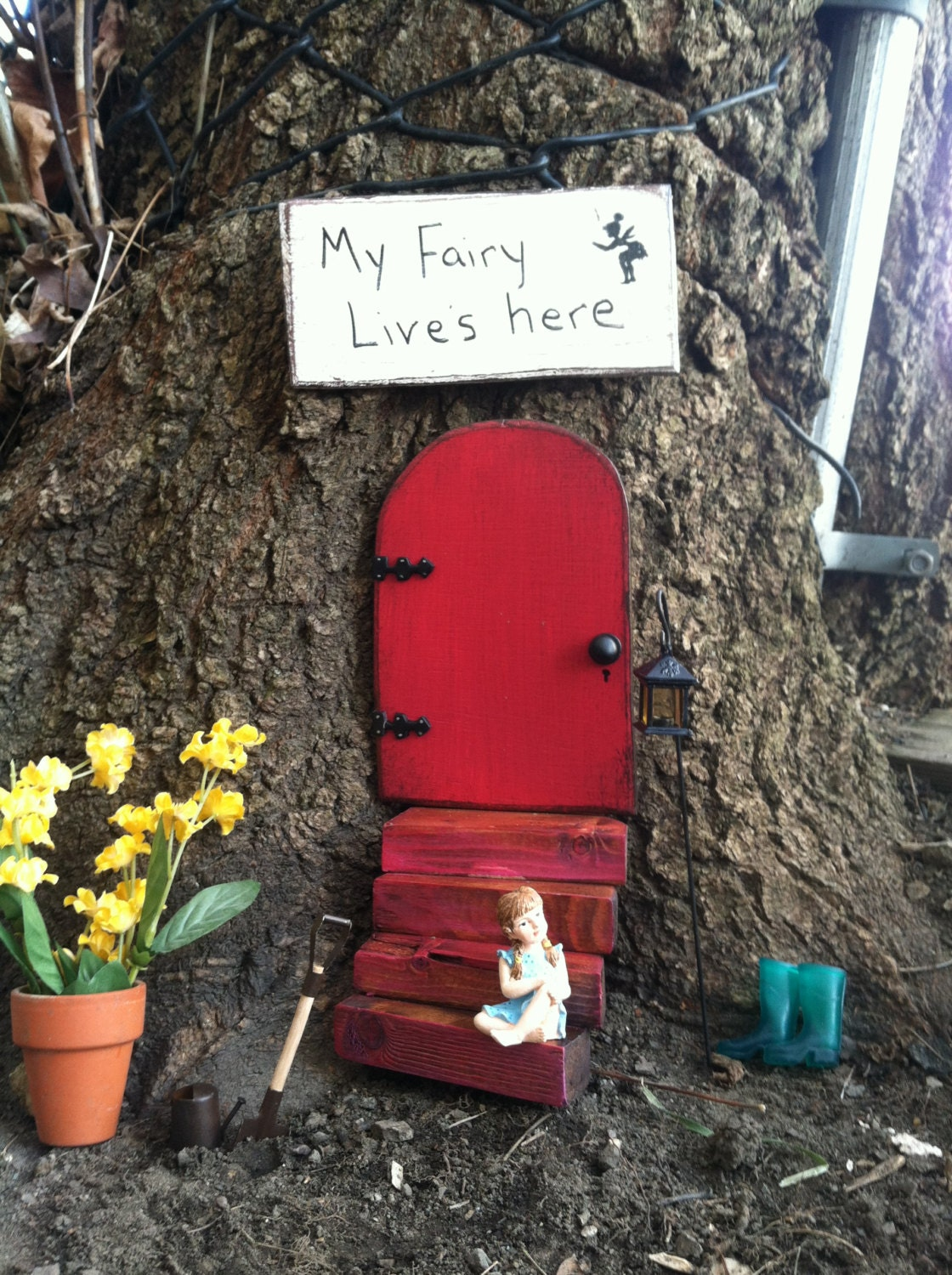 Fairy garden gift set fairy door red door garden decor for Fairy door gift set