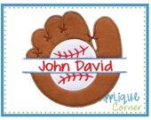 Baseball and Glove Split applique digital design for embroidery machine by Applique Corner