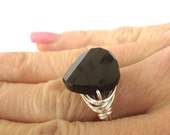 Swarovski Black Wire Wrapped Ring, Twist Crystal Ring, Jet Black Cocktail Ring, Classic Ring